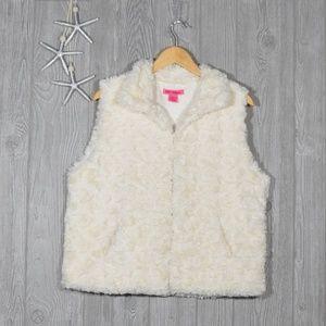 Betsey Johnson White Faux Fur Vest Sz Large